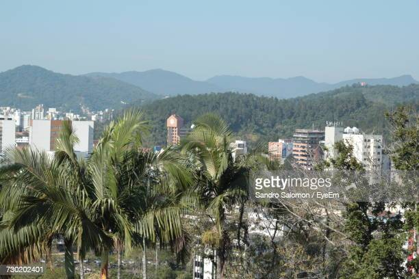 Panoramic View Of Trees And Mountains Against Clear Sky