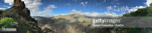 panoramic view of trees and mountains against sky - tejeda canary islands stock pictures, royalty-free photos & images
