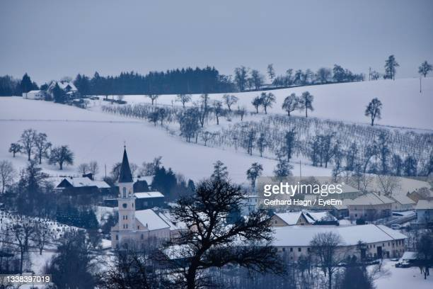 panoramic view of trees and village against sky during winter - gerhard hagn stock-fotos und bilder