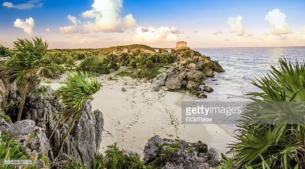 panoramic view of tulum beach, mexico - mayan riviera stock photos and pictures