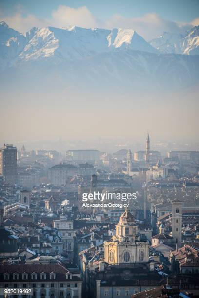 panoramic view of turin and snowy italian alps - turin stock pictures, royalty-free photos & images