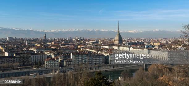 panoramic view of turin, piedmont, italy - turín fotografías e imágenes de stock