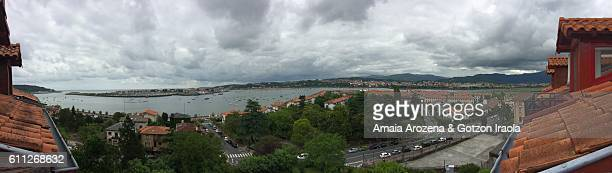 panoramic view of txingudi bay from hondarribia town, basque country - オンダリビア ストックフォトと画像
