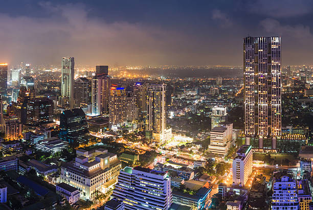 Panoramic View Of Urban Landscape In Bangkok Thailand Wall Art