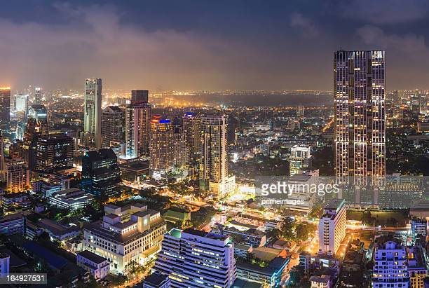 panoramic view of urban landscape in bangkok thailand - borough district type stock pictures, royalty-free photos & images