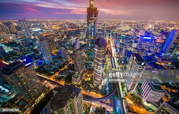 panoramic view of urban landscape in bangkok thailand - bangkok stock photos and pictures