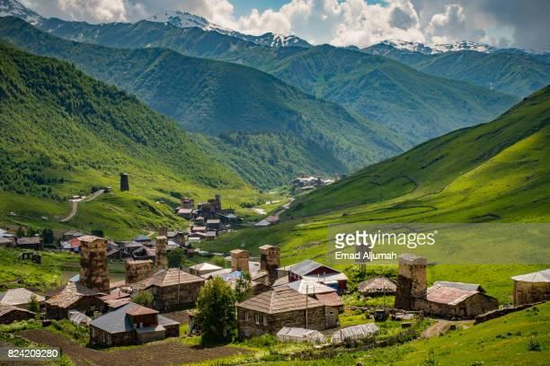 Panoramic view of Ushguli village in Svaneti region of Georgia - June 29, 2017