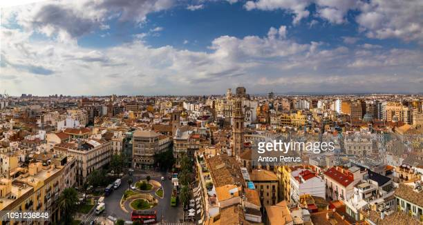 panoramic view of valencia from the tower torre del miguelete - valencia spanien stock-fotos und bilder