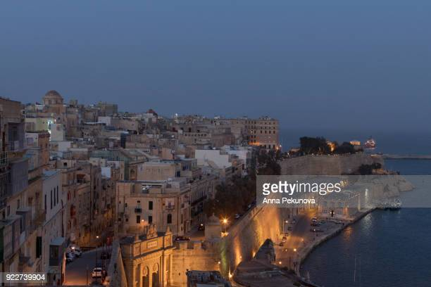 Panoramic view of Valletta coastline, seen from Upper Barrakka Garden, Valletta, Malta