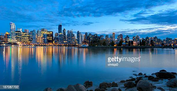 Panoramic View of Vancouver Skyline at Dusk