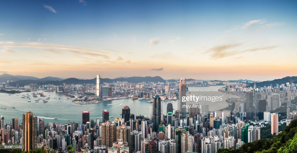 Panoramic View of Victoria Harbour of Hong Kong : Stock Photo