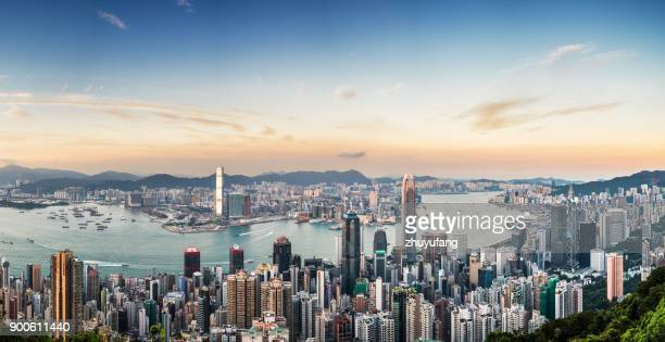 Panoramic View of Victoria Harbour of Hong Kong