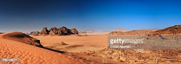 panoramic view of wadi rum, jordan - jordan middle east stock pictures, royalty-free photos & images