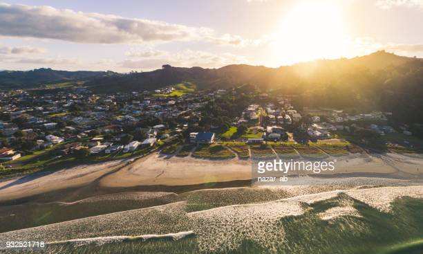 Panoramic view of Waihi Beach, Bay of Plenty, New Zealand.