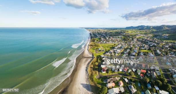Panoramic view of Waihi Beach, Bay of Plenty, New Zealand.