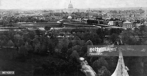 Panoramic view of Washington DC, showing the United States Capitol Building in the centre, Washington DC, USA, circa 1871. .