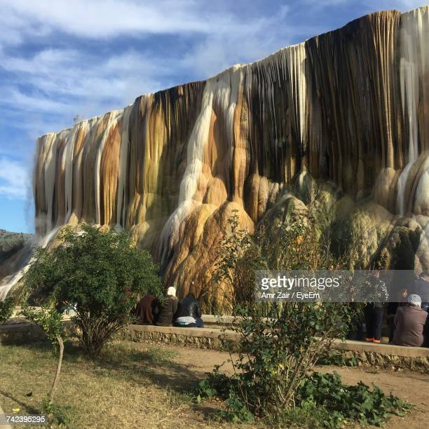panoramic view of waterfall against sky - algerie photos et images de collection