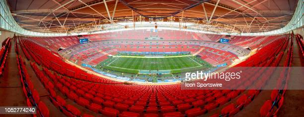 Panoramic view of Wembley Stadium, London before the NFL game between the Tennessee Titans and the Los Angeles Chargers on October 21, 2018 at...