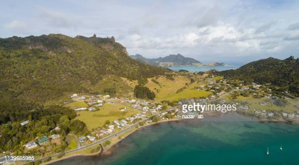 panoramic view of whangarei heads. - whangarei heads stock pictures, royalty-free photos & images