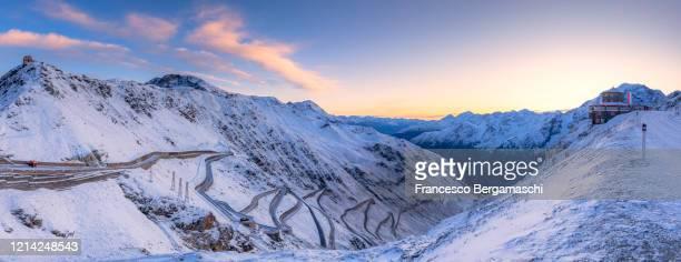 panoramic view of winding road of stelvio mountain pass at sunrise. - italia stockfoto's en -beelden
