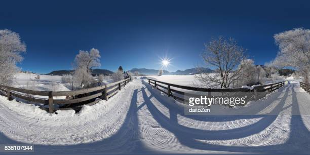 360° panoramic view of winter landscape with deep snow, trees covered in frost and mountain range in the distance, inzell, upper bavaria, germany - 360 degree view stock pictures, royalty-free photos & images