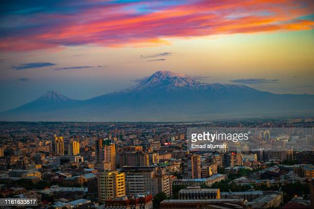 panoramic view of yerevan and mt ararat, armenia - yerevan stock pictures, royalty-free photos & images