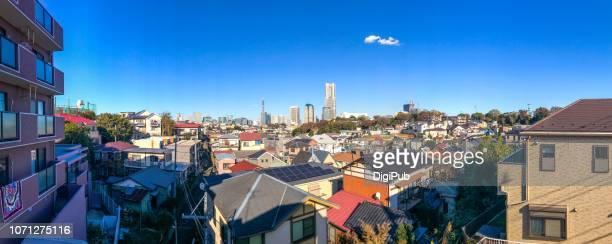 panoramic view of yokohama - 横浜市 ストックフォトと画像