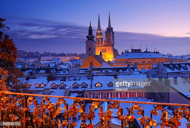 a panoramic view of zagreb im winter - zagreb stock pictures, royalty-free photos & images