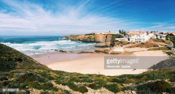 panoramic view of zambujeira do mar, alentejo, portugal - portugal stock pictures, royalty-free photos & images