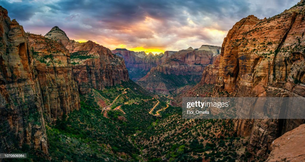 panoramic view of zion national park from Canyon overlook trail : Stock Photo