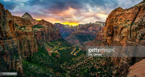 panoramic view of zion national park from canyon overlook trail - canyon stock pictures, royalty-free photos & images