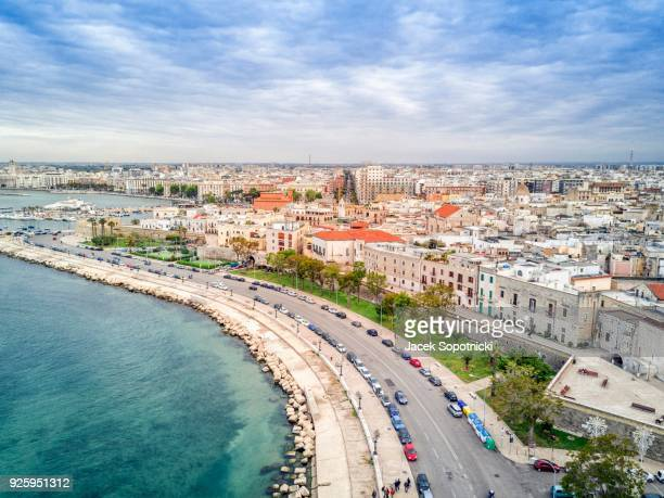 panoramic view old town, bari, puglia, italy - bari stock photos and pictures