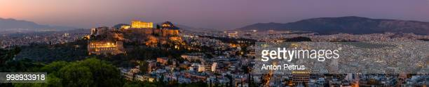 Panoramic view on Acropolis in Athens at sunrise