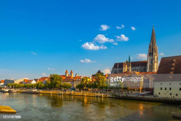panoramic view on danube river with regensburg cathedral, germany - regensburg stock photos and pictures