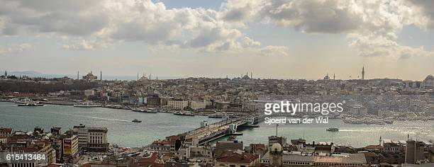 """panoramic view on golden horn and galata bridge in istanbul - """"sjoerd van der wal"""" stock pictures, royalty-free photos & images"""