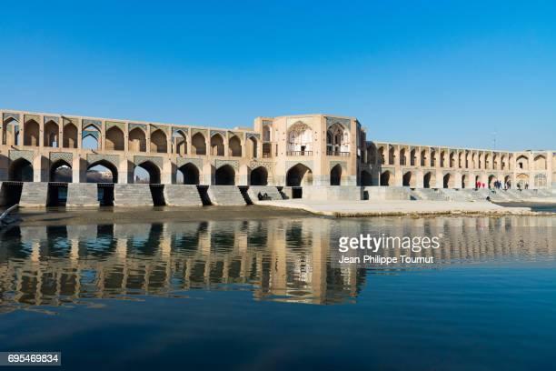 panoramic view on khaju bridge, isfahan, iran - ハージュ橋 ストックフォトと画像
