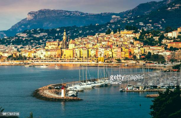 panoramic view on menton bay, france. - french riviera stock pictures, royalty-free photos & images