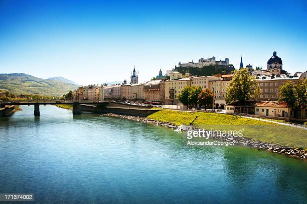panoramic view on salzburg, austria - salzburger land stock pictures, royalty-free photos & images