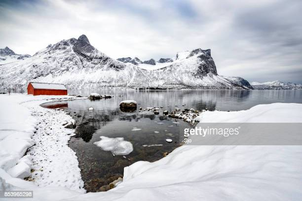 Panoramic view on Senja island in Northern Norway during winter