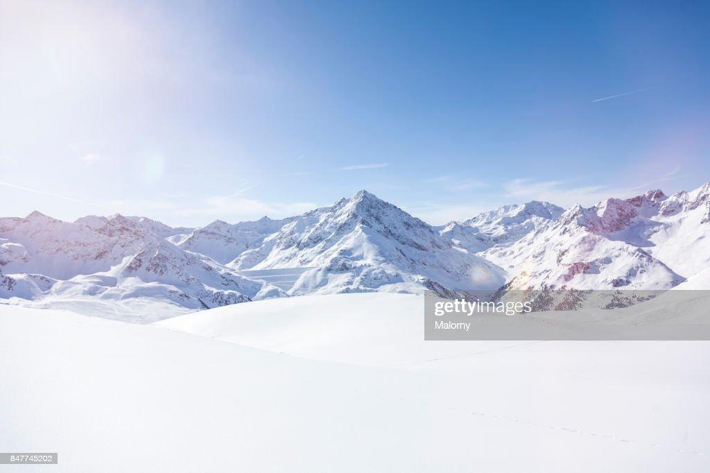 Panoramic view on snow-capped mountains, Kuethai, Tirol, Austria : Stock-Foto