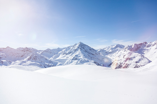Panoramic view on snow-capped mountains, Kuethai, Tirol, Austria - gettyimageskorea