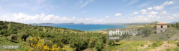 panoramic view on the bay of pylos, peloponnese, greece - peloponnese stock photos and pictures