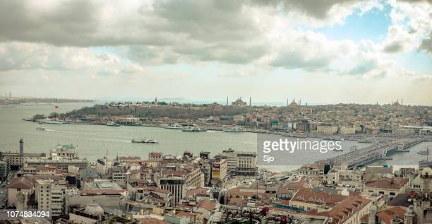 Panoramic view on the Golden Horn and Galata Bridge in Istanbul