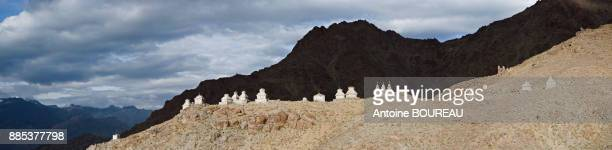 Panoramic view on the stupa marking the end of the village of Likir, Ladakh, India