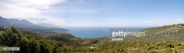 vista panorámica sobre el modo de kalamata a kardamili, grecia - peninsula de grecia fotografías e imágenes de stock