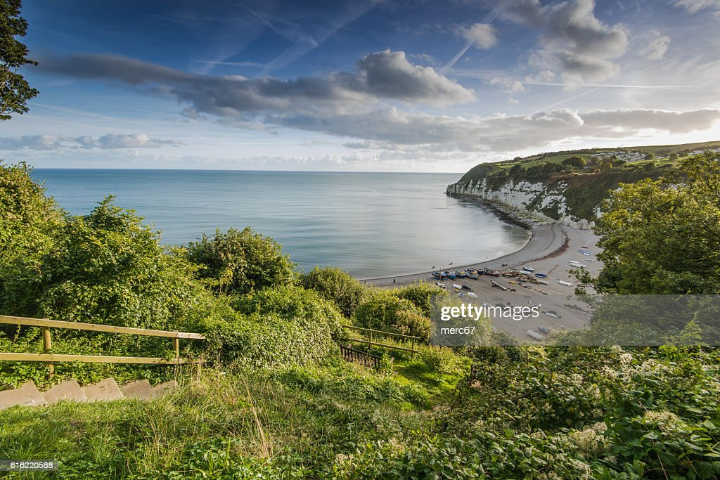 Panoramic view over Beer village in Devon,UK : Stock-Foto