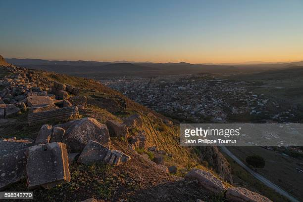panoramic view over bergama at dusk, izmir province, aegean turkey - ベルガマ ストックフォトと画像