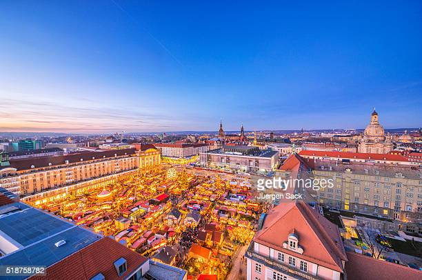 Panoramic view over Dresden and the Striezelmarkt at dusk