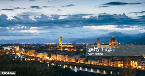 panoramic view over florence skyline - yeowell stock pictures, royalty-free photos & images