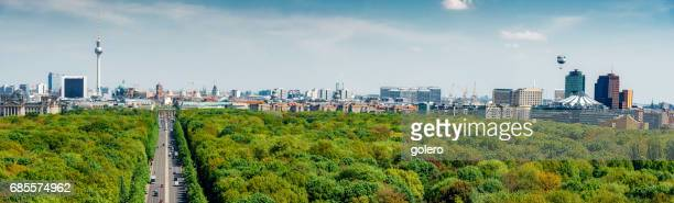 panoramic view over green tiergarten park on berlin skyline - central berlin stock photos and pictures